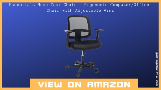 Essentials Mesh Task Chair- Ergonomic Computer/Office Chair with Adjustable Arms, Black