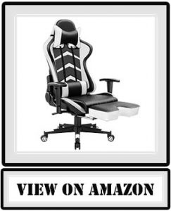 Furmax Gaming Chair High Back Racing Chair, Ergonomic Swivel Computer Chair Executive Leather Desk Chair with Footrest, Bucket Seat and Lumbar Support