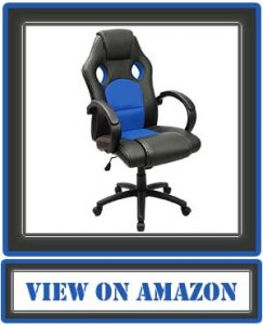 Furmax Office Chair Leather Desk Gaming Chair, High Back Ergonomic Adjustable Racing Chair, Task Swivel Executive Computer Chair Headrest and Lumbar Support (Blue)