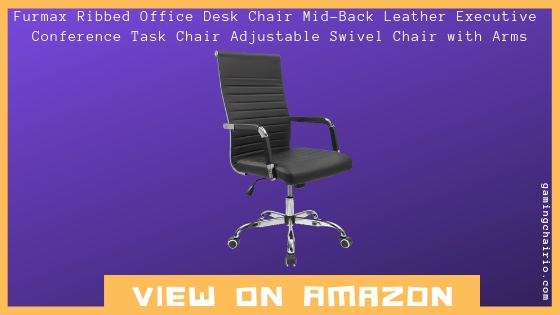 Furmax Ribbed Office Desk Chair Mid-Back Leather